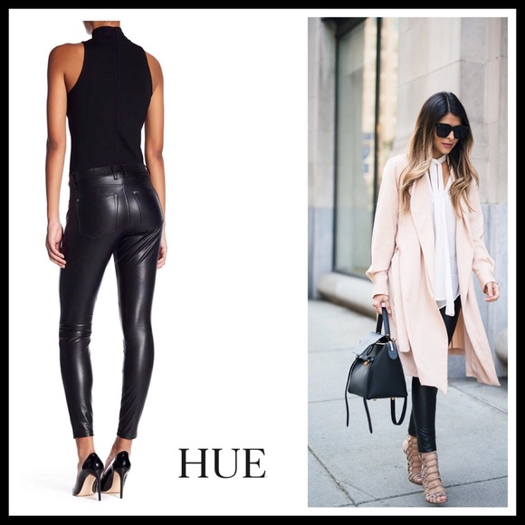 6aec2e08c62f45 HUE Jeans | Black Faux Leather Leggings | Poshmark